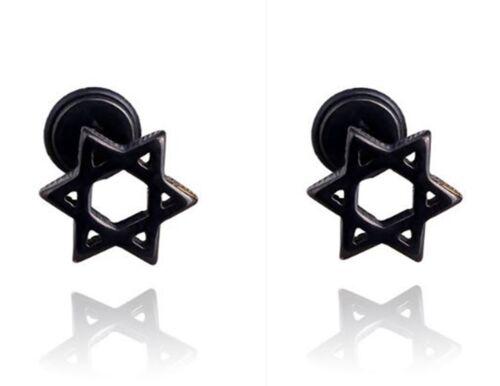 1 pair Women Man Black Titanium steel Hexagram Pentagram star Earrings Ear Studs
