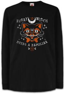 Every-Witch-Needs-A-Familiar-Kinder-Langarm-T-Shirt-Cat-Cats-Fun-Katze-Katzen