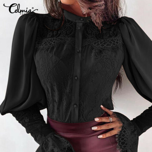 Womens Office Ladies Buttons Lace Tops Shirt Long Sleeve Blouse Loose Shirts