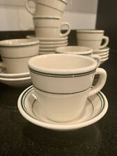 Homer Laughlin CHINA Restaurant Ware Coffee Tea Cup Mug Saucer Set Green USA