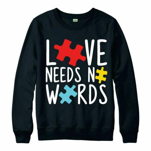 Autism Awareness Day partywear Cadeau Top Amour n/'a pas besoin de mots Pull