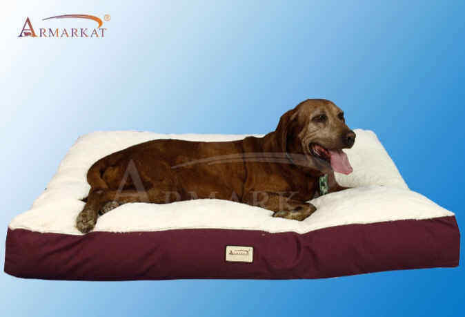 Armarkat XXL Heavy Duty Canvas Soft Plush Cat Dog Pet Bed Mat Burgundy 60