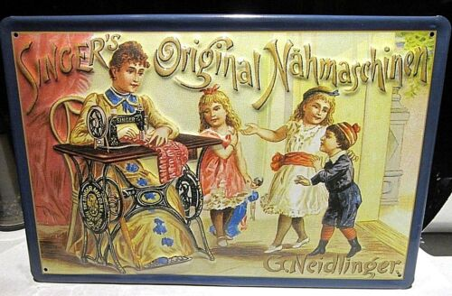 METAL ADVERTISING SIGN 30x20cm ORIGINAL SINGER SEWING MACHINES :EMBOSSED 3D