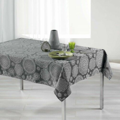 Luxury Easycare Jacquard Rectangle Tablecloth White Grey Red Natural