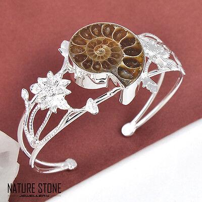Valentine's Natural Handmade Ammonite Fossil Gems Silver Bangle Bracelets