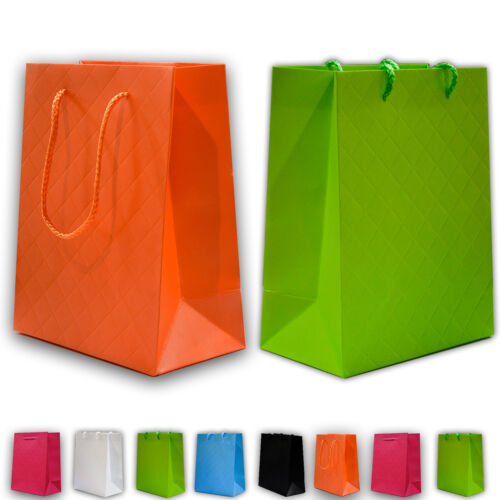 60 x Geschenktüten Geschenkbeutel Tüten Beutel 23x18x10cm Falte farben