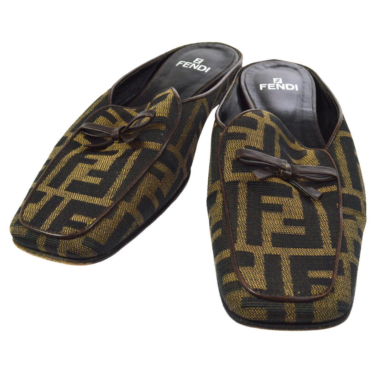 Authentic FENDI Zucca patrón Sandalias Zapatos Marrón Negro Nailon  2 AK25502
