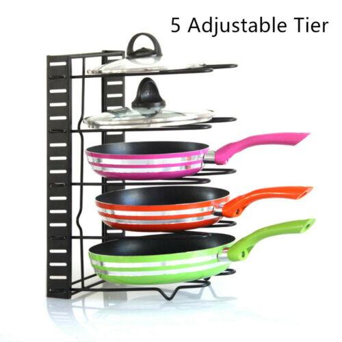 5 Layer Kitchen Cabinet Pan Rack Shelf Cookware Organizer Pot Lid Holder Storage