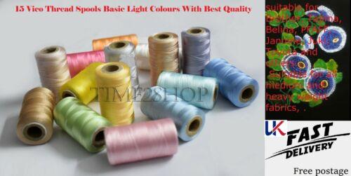 15 Luz Color Vico Hilo de seda Carretes mejor para máquina de bordar y coser