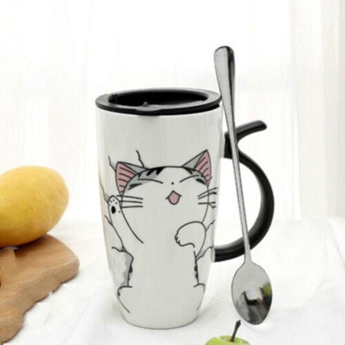 Lid Spoon Cartoon Coffee Milk Tea Cup Creative Cat Ceramic Mug Cup Novelty Gift
