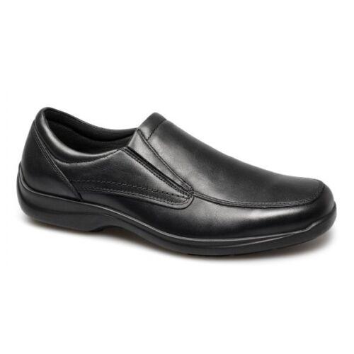 IMAC Mens Leather Twin Gusset Slip-On Italian Casual Anatomic Flexy Shoes Black