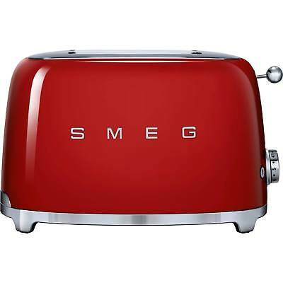 Smeg TSF01RDUK 50's Style 2 Slice Wide Slot Reheat/ Defrost Toaster in Red