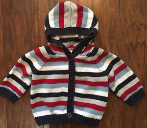 b2daeabb3 Gymboree Baby Boy 3-6m Stripe Hooded Cardigan Button Sweater Red ...
