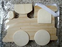 Large Unfinished Crafter's Square Train Shape Wood Wall Plaque W/white Ribbon