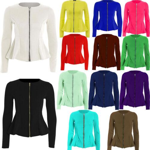 Women/'s Donna Volant frontale con zip Slim Fit Peplum Blazer Jacket Coat Taglia più 8-26