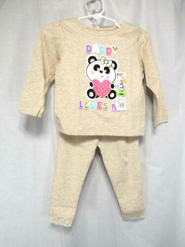 "New Garanimals 2 Piece Top Pants Girls Size 18 Months /""Daddy Loves Me/"" Panda"