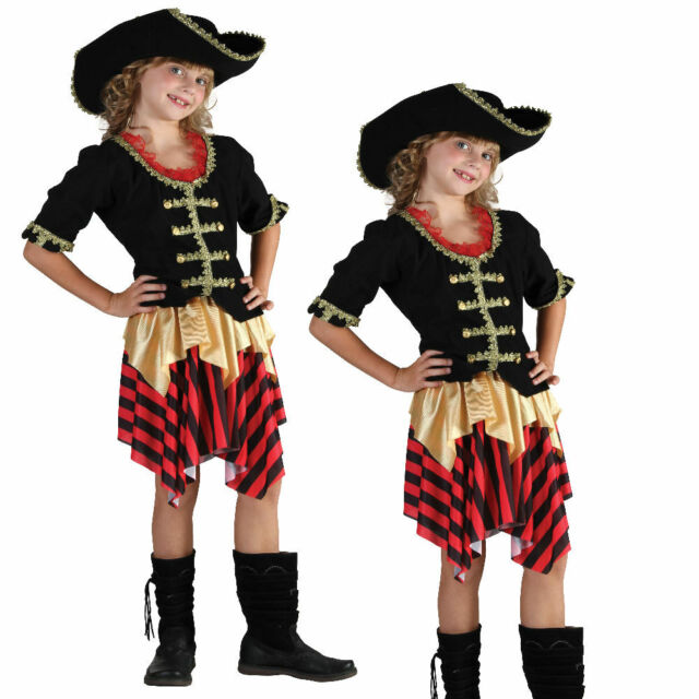 Hat Girls Fancy Dress Caribbean Buccaneer Kids Childs Costume Pirate Ship Mate