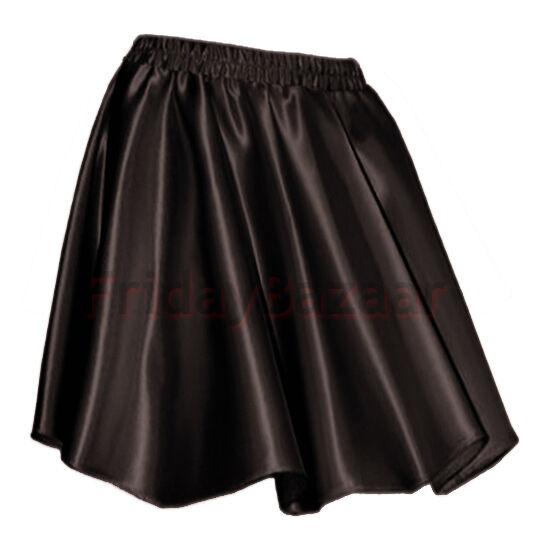 B PURPLEWomen Lady Satin Shiny Mini Skirt Pleated Retro High Waist Club S~3XL