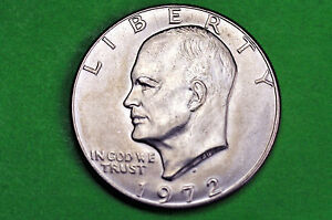 Eisenhower 1972-P  About  Uncirculated US One Dollar Coin