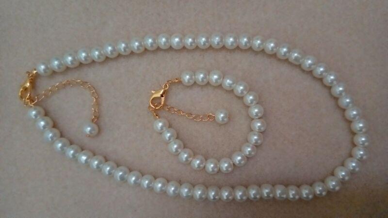 "16"" 8mm Ivory/cream Glass Pearl Necklace 9"" Bracelet Set Golden Lobster Clasp"
