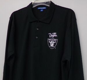 best authentic 85457 08865 Details about NFL Las Vegas Raiders Mens Embroidered Long Sleeve Polo S-6XL  LT-4XL Oakland New