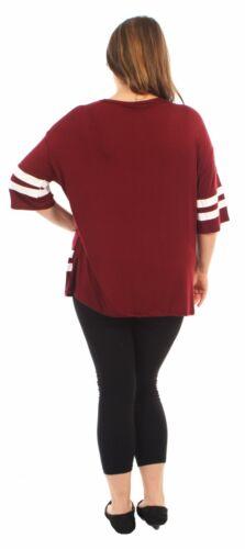 New Ladies Oversize Baggy Baseball Varsity T-Shirt Tops 12-26