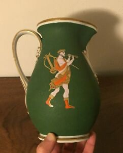 Antique-19th-c-Porcelain-Pitcher-Jug-Grainger-Worcester-Classical-Greek-Figure