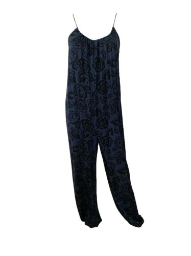 Tucker Blue Black Printed Silk Cami Jumpsuit Size