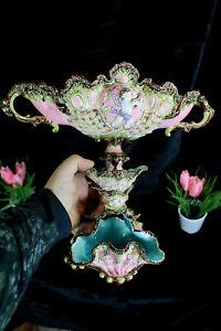 Antique Art nouveau majolica barbotine majolica centerpiece Bowl Cherub rare