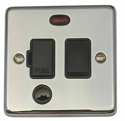 G/&H FC377 Flat Plate Polished Chrome 1 Gang Fused Spur Switch Flex Outlet /& Neon