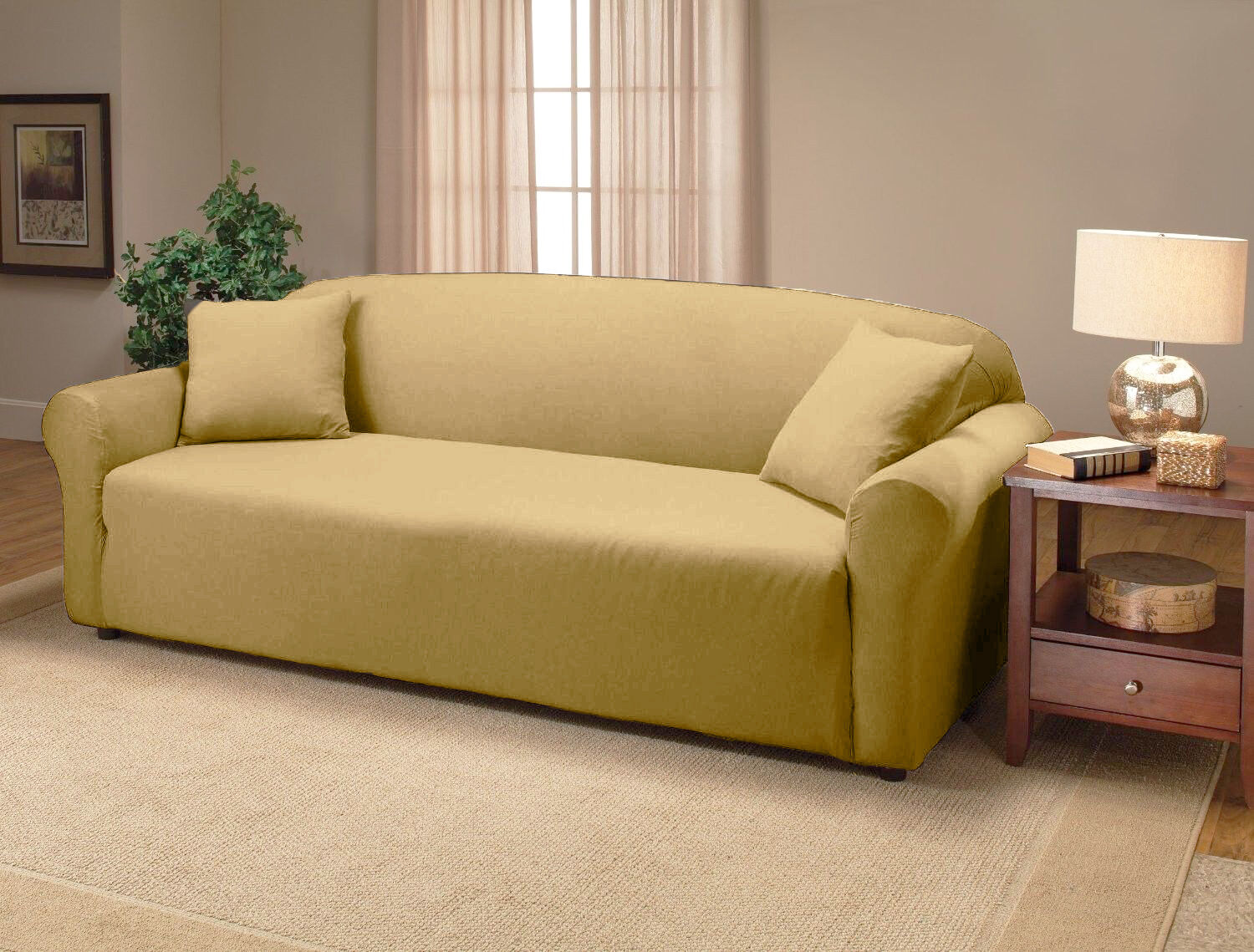Linen Color Jersey Sofa Stretch Slipcover Couch Cover