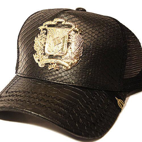 Dominican Republic Trucker Snapback Hat Black Snake Skin Leather Gold badge Cap