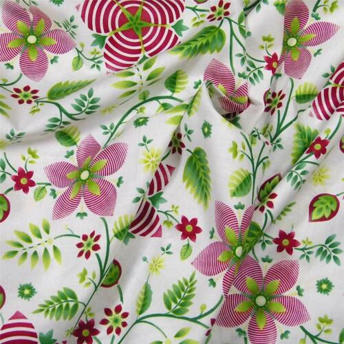 Per 1//2 Yd Red Green on White Art Deco Quality  Cotton Fabric by Benartex