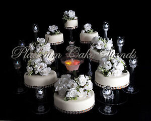 8 TIER CASCADE WEDDING CAKE STAND W/FOUNTAIN & 8 GLASS VOTIVE SET ...