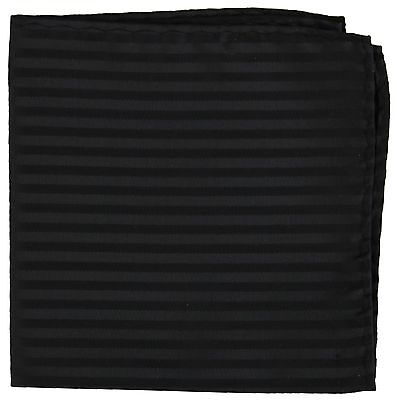 New Men's Polyester Woven pocket square hankie only black tone on tone stripes