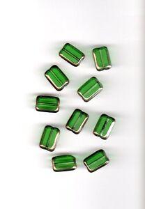 Vintage-light-emerald-green-rectangular-glass-beads-with-gold-edges-12-mm