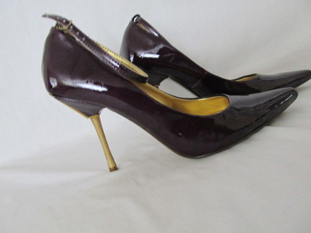 WOMEN'S SHIEKH PURPLE PATENT LEATHER STILETTO HIGH HEELS POINTED TOE SIZE 5.5