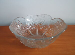 Set of Glass Salad Bowls with Danish Modern Cow Parsley Design Made in Italy ~ 9 Size