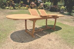 94 OVAL TABLE w/ TRESTLE LEGS -TEAK WOOD GARDEN OUTDOOR DINING FURNITURE PATIO