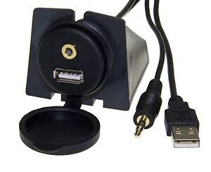 usb einbau buchse klinke 3 5mm adapter kabel kfz. Black Bedroom Furniture Sets. Home Design Ideas