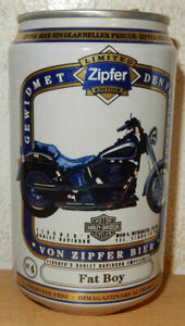 HARLEY DAVIDSON FAT BOY ZIPFER Beer can from AUSTRIA (33cl) Empty !!