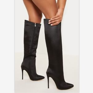 Women High Heels Zip Up Knee High Riding Boots Pointed Toe Party Shoes Plus Size