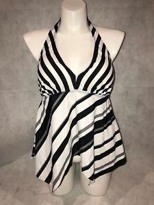 Swimsuits-for-All-Halter-Handkerchief-Hem-PLUS-Stripes-Tankini-Top-NWT-16W-16