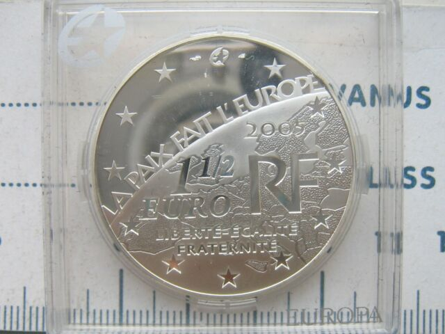 France Silver 1-1/2 Euro 2005, 60th Anniversary - End of World War II PROOF