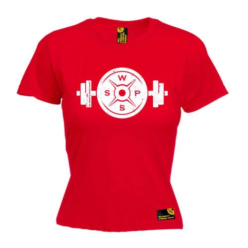 Forme d/'haltère Barbell plaque T-shirt femme Poids Gym Entraînement Muscle Cadeau D/'Anniversaire
