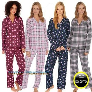 Ladies-Winceyette-Pyjamas-100-Cotton-Womens-brushed-Flannel-Nightwear-PJs-Set