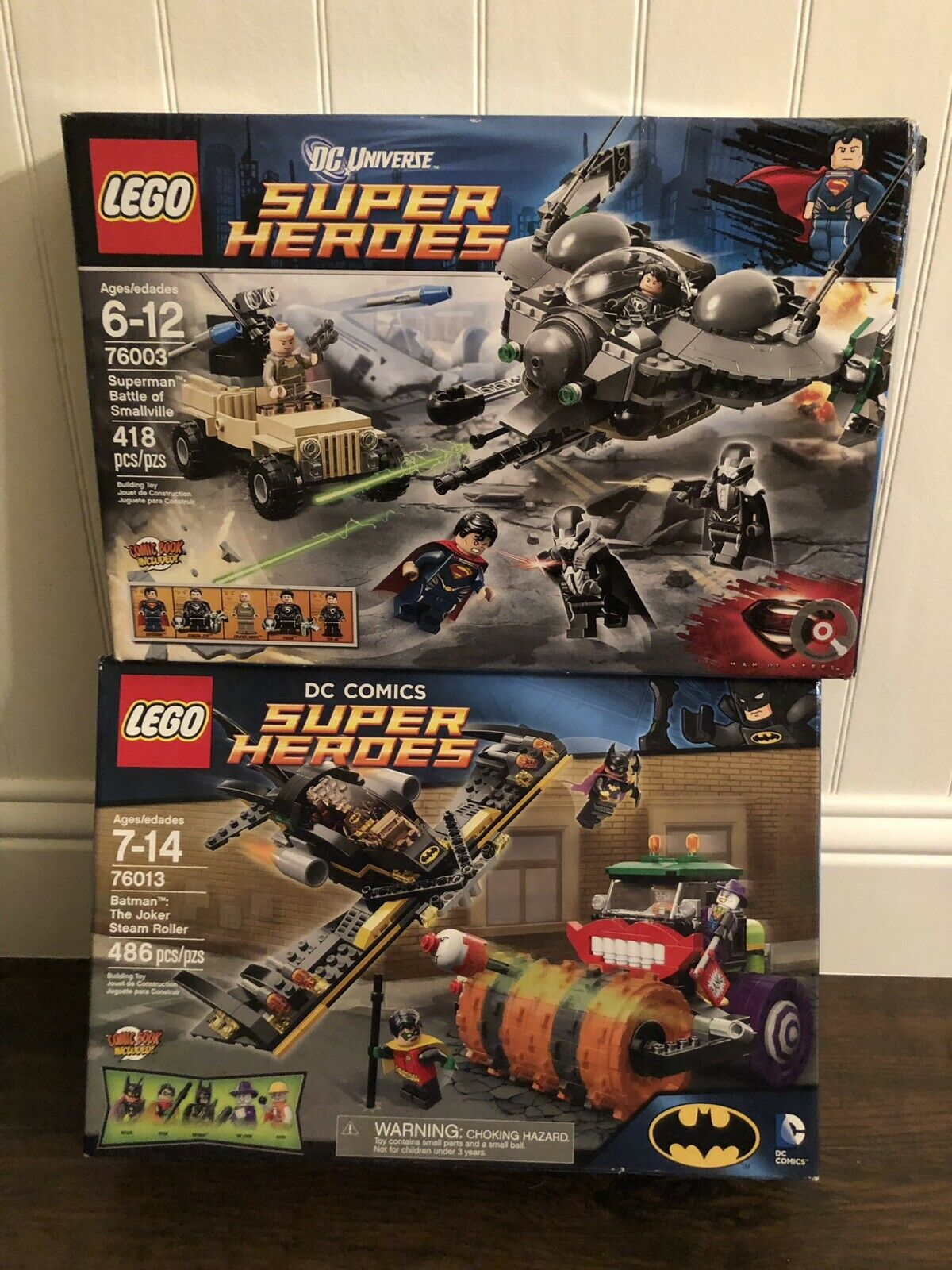 LEGO 76013 Batman The Joker Steam Roller AND 76003 Superman Battle of Smallville