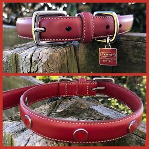 94e3467b Details about COACH STUDDED COACH GROMMETS RED LEATHER SQUARE CHARM DOG  COLLAR MEDIUM M