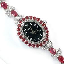 Sterling Silver 925 Genuine Natural Rich Pink Ruby & Lab Diamond Watch 7 Inch