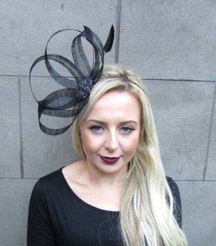 Black Feather Diamante Sinamay Fascinator Headband Races Hair Band Cocktail 4841